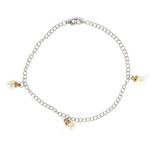 Collar con colgante, cadena de barril de 3 perlas, colgante de letra, collar de diamantes de imitación, bolsa, cadena de zapatos para niñas y mujeres(Plata)