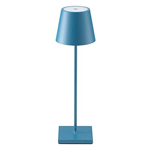 SIGOR Nuindie LED-Akku-Tischleuchte, bis 24 Stunden Laufzeit, Easy-Connect, dimmbar, blau