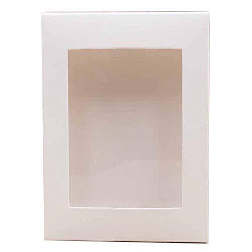 Geschenkdoos BLTLYX 10st per venster met meerdere formaten Pakketdoos Diy papieren geschenk- / trouwdoos met doorzichtig PVC-venster 125x85x15mm Wit 1