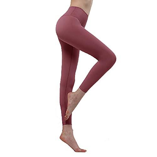 Pantalones de yoga de cintura alta Workout Running,Pantalones de yoga con levantamiento de cadera,leggings de control de vientre-rojo ladrillo_M,Pantalones de chándal elásticos Yoga Sport Fitness