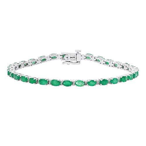 Dazzlingrock Collection 5X3 mm Oval Emerald & Round White Diamond Ladies Fashion Tennis Bracelet, 10K White Gold