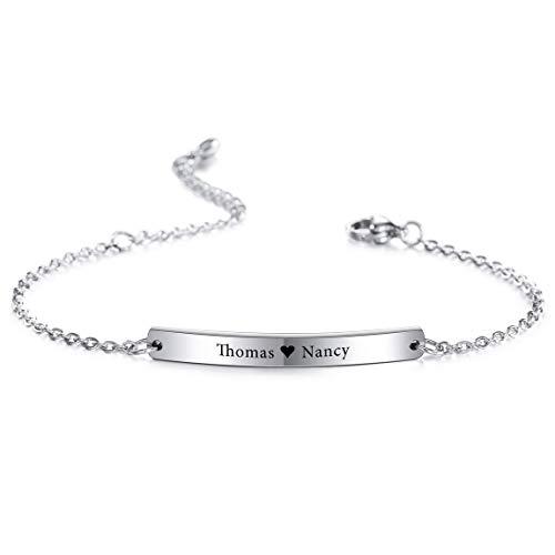 VIBOOS Personalisierte Armband Gravur Namen Für Frauen Mädchen Edelstahl verstellbare Knöchel Link Brautjungfer Geschenke Best Friend Armbänder (Silber Farbe)