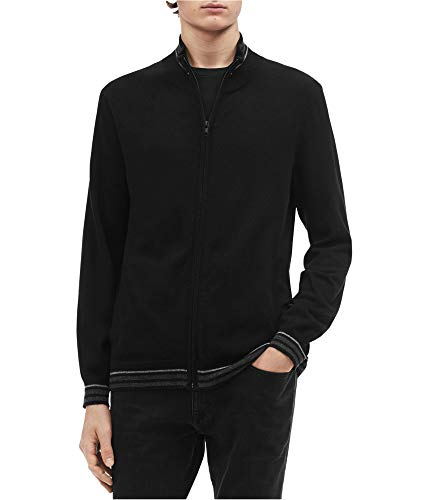 Calvin Klein Mens Tipped Cardigan Sweater, Black, Medium
