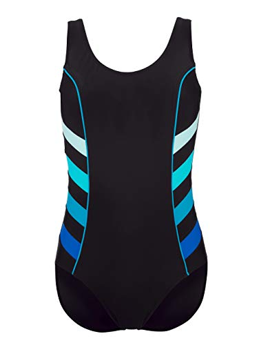 Maritim Badeanzug mit dekorativen Streifeneinsätzen Schwarz