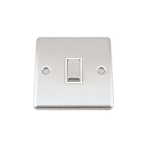 A5 Light Switch Single 1 Gang Satin Brushed Chrome Classic - White Insert - Metal Rocker Switches - 10A 1 Gang 2 Way