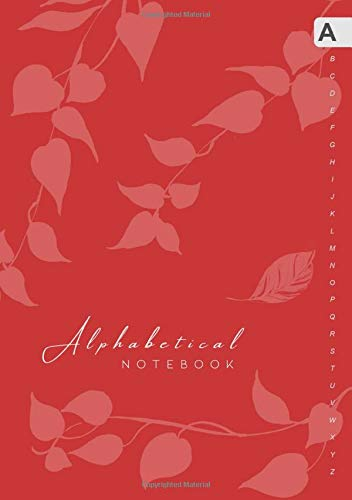 Alphabetical Notebook: B5 Lined-Journal Organizer Medium with A-Z Alphabet Tabs Printed | Cute Vine Leaves Design Red