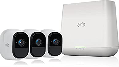 Arlo Pro by NETGEAR Security System with Siren – 3 Rechargeable Wire-Free HD Cameras with Audio, Indoor/Outdoor, Night Vision (VMS4330) (Renewed)