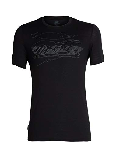 Icebreaker Herren Mens Tech Lite SS Crewe Coronet Peak T-Shirt, Black, XL