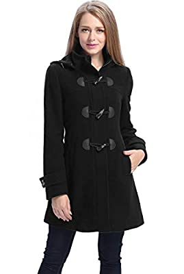 BGSD Women's Daisy Wool Blend Toggle Coat, Black, Plus Size 1X from