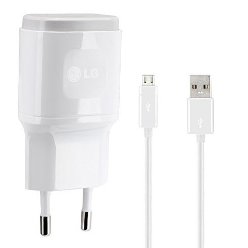 Genuine LG Blanco 1.8 Amp ( 1800 mAh ) 2 Pin EU Cargador + Micro USB Cable apto para LG G4, LG G4c, LG G4 Lápiz Óptico, LG G2, LG G3, LG G3s, LG G2 Mini, LG Nexus 5, LG Nexus 4 & LG G Flex in Bulk Packaging