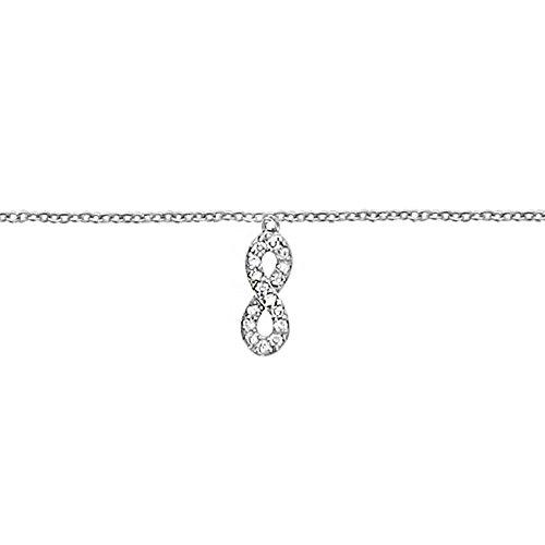CHAINE de CHEVILLE Symbole Infini INFINITY Bijoux en ARGENT Zirco chevillère