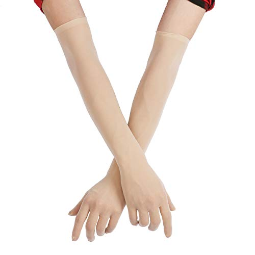 FEESHOW Damen Nahtlose Handschuhe Stulpenärmel Elastisch Strumpfhosen Nylon Durchsichtig Ellenbogen Lang für Hochzeit Abend Hautfarbe One Size