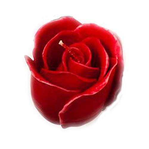 Wohnsinn Candela a Forma di Rosa Candela Decorativa Candela Fiore di Rosa Fatto a Mano 7x7 cm Rosso Decorazione casa Appartamento Balcone