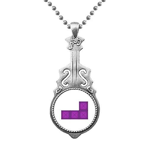 Klassische Spiele Tetris Purple Block Anhänger Schmuck Musik Gitarre Torque Star Moon