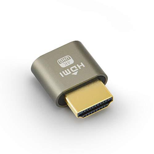 Generic eFUTURA 1 Stück HDMI-Dummy-Stecker Headless Ghost Display Emulator 4K @ 60Hz 1080P @ 120Hz für Fernarbeit und Bergbau -Grau