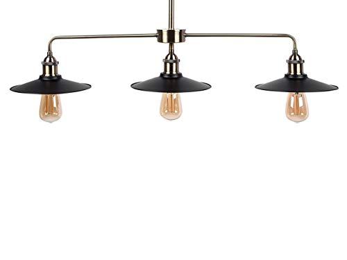 Beliani Dreiflammige Hängeleuchte im industriellen Stil 3 Flache Lampenschirme Montone