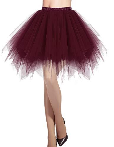 DRESSTELLS Cosplay Rock mit Tüll Damen 50er Rockabilly Petticoat Tutu Unterrock Kurz Ballett Tanzkleid Ballkleid Abendkleid Gelegenheit Zubehör Burgundy XL