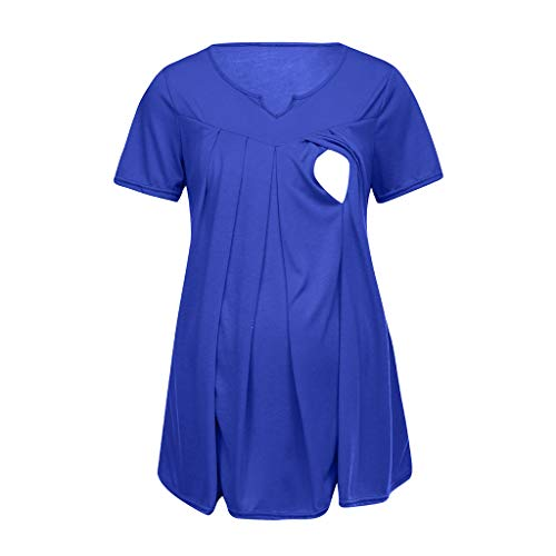 Blouse de Maternité, Femme T-Shirt Chic Tops à Rayé Manche Courte Bébé Allaitant Enceinte Grossesse Tops de maternité Hauts Pullover de Allaitement Sweats