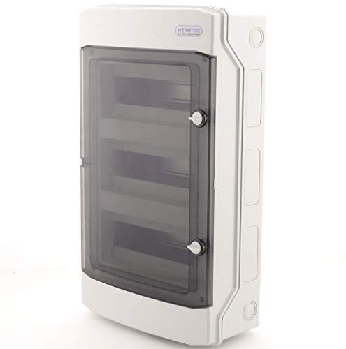 Sicherungskasten Aufputz IP65 Feuchtraum Verteiler Kleinverteiler 3 -reihig 36 Module Installation im Garten oder andere Außenbereiche Stromverteiler Verteilerkasten Schaltkasten Aufputzverteiler
