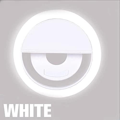 Blanco LED selfie anillo luz novedad maquillaje iluminación LED selfie lámpara teléfonos móviles foto noche luz led espejo neón muestra selfie anillo