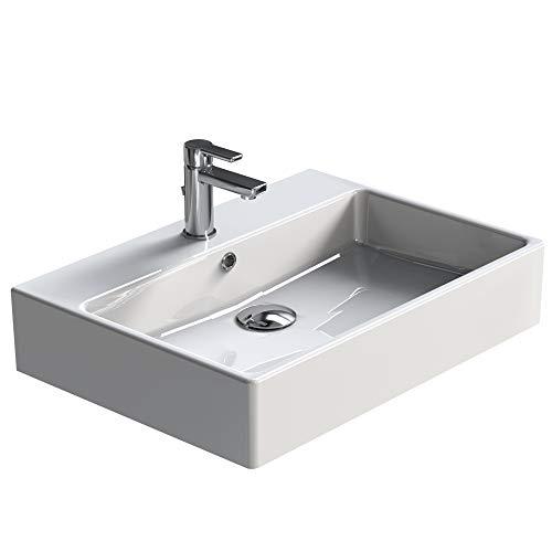 Aqua Bagno Waschbecken Solo aus hochwertiger Keramik Design Möbelwaschtisch Hängewaschbecken eckig | 70 x 50 cm