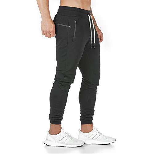 Yageshark Herren Jogginghose Sporthose Baumwolle Fitness Slim Fit Hose Freizeithose Joggers Streetwear(Schwarz,Large)