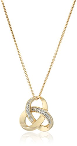 """18K Yellow Gold over Sterling Silver Diamond Knot Pendant Necklace, 18"""""""