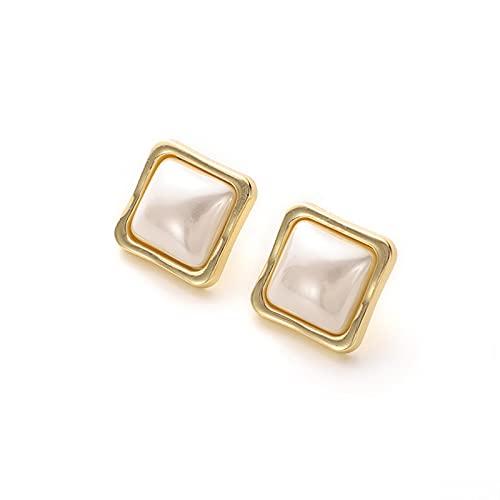 1 pieza de pendientes para niñas, pendientes de perlas con forma cuadrada vintage, accesorios diarios