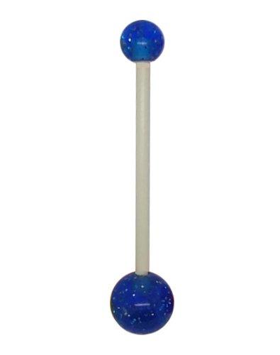 Gekko Body Jewellery - Piercing per ombelico in Teflon, flessibile, per gravidanza, con palline blu glitterate; barretta da 1,6 mm