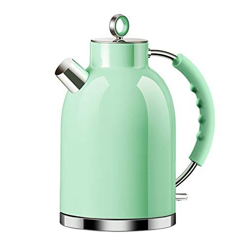 Electric Kettle, ASCOT Stainless Steel Electric Tea Kettle, 1.7QT, 1500W, BPA-Free, Cordless, Automatic Shutoff, Fast Boiling Water Heater - Green