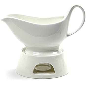 Norpro Porcelain Gravy Sauce Boat with Stand and Candle, White