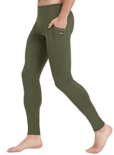 Willit Men's Active Yoga Leggings Pants Dance Running Tights with Pockets Cycling Workout Pants Quick Dry Army Green M