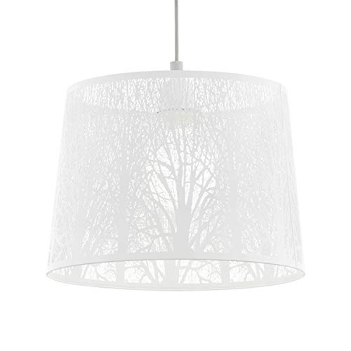 EGLO Pendelleuchte Hambleton, 1 flammige Hängelampe Vintage, Retro, Hängeleuchte aus Stahl in Weiß, Nickel-Matt, Esstischlampe, Wohnzimmerlampe hängend mit E27 Fassung