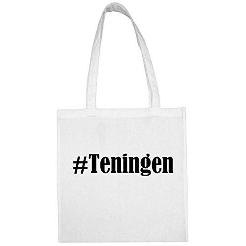 Tasche #Teningen Größe 38x42 Farbe Weiss Druck Schwarz
