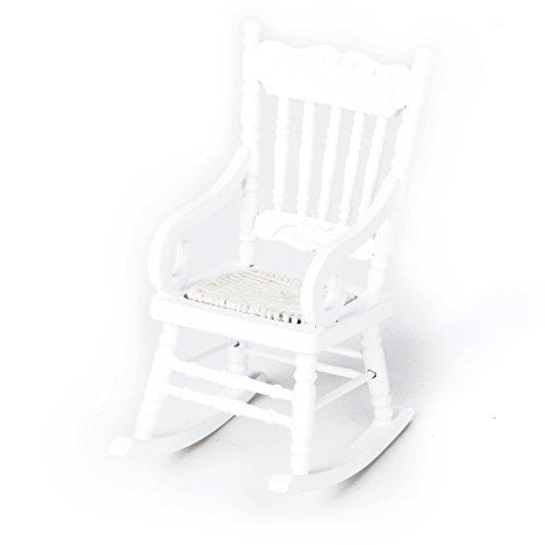 1/12 Fauteuil à Bascule Miniature en Bois pour Maison de Poupées - Blanc
