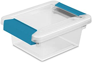 Sterilite 19698606 Mini Clip Box, Clear with Blue Aquarium Latches, 6-Pack