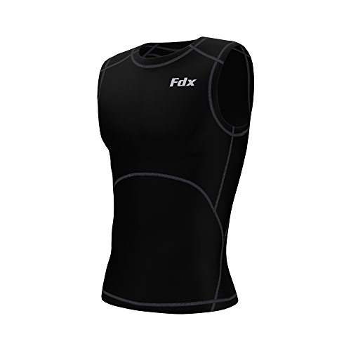 FDX - Maglietta sportiva da uomo, a compressione, con strato di base, da corsa, senza maniche nero/grigio XL