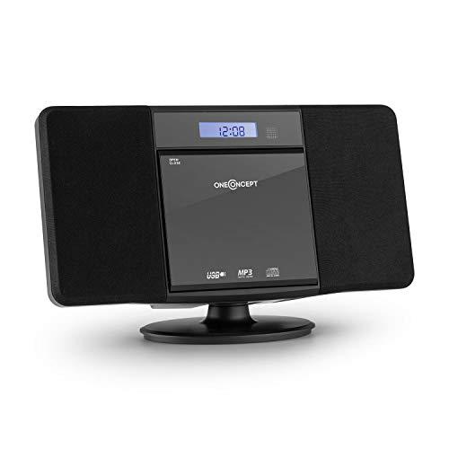 Oneconcept V-13 - mini impianto stereo compatto , CD e MP3 Player , Ingresso AUX-In , Entrata USB MP3 , radio VHF , telecomando Incluso , Allarme , Timer , montaggio a muro , Colore nero