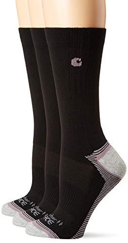 Carhartt Womens Force Performance (3-Pair) Socks, Black, LRG