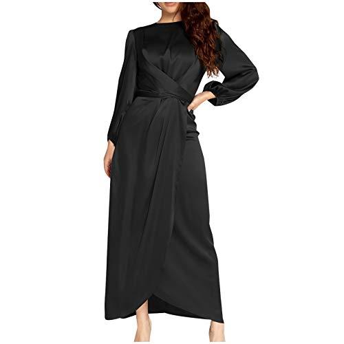 Shineshae Weibliches Tunika-Kleid für Damen,Rundhalsausschnitt Schlankes Bürokleid,Elegantes und schickes Kleid,Retro Vintage Abend...