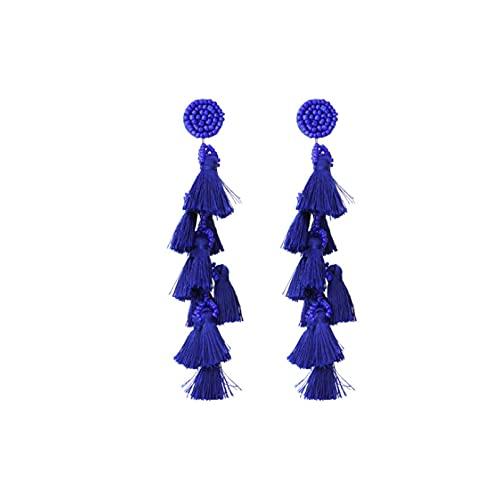 JUYIXIAN Pendientes Mujer Plata Baratos Pendientes Mujer Plata NiñA De Aro Largos Vintage Estrella Earrings Azul