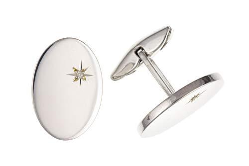 Sterling Silver Diamond Set ovale Boutons de manchette