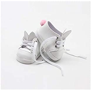 18 Inch Doll 18 Inch American Girl Doll Plush Tail Shoes Doll Accessories Mini Shoes Toy(Pink) (Color  White, Size  7x3.6cm)