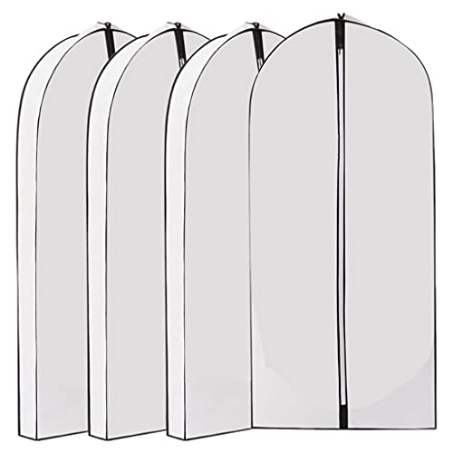 MagiDeal 4x Dustproof Garment Bag Lightweight Cover Zipper Nonwoven Three dimensional Visible Larger Hanging Transparent for Closet Home Storage Sweaters Men - white