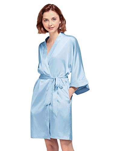 AW BRIDAL Silky Satin Robes Short Kimono Bathrobe Dressing Gown for Brides Bridesmaids Wedding Party, Light Sky Blue, M