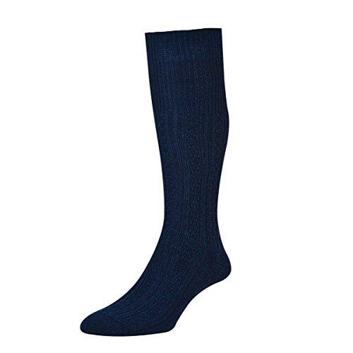 Socks Uwear HJ Hall irlandais à torsades Long Chaussettes en laine/Disponible en tailles UK 6–11 et 11–13 - Bleu - Large