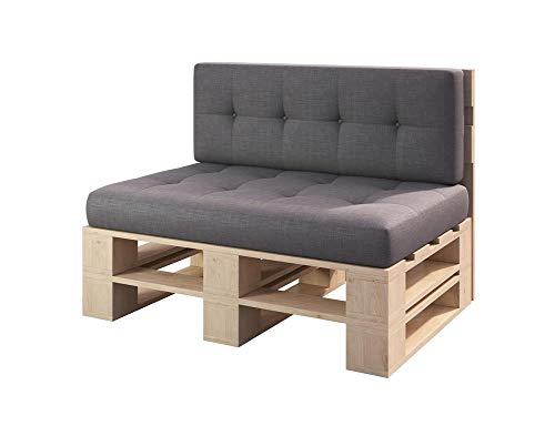sunnypillow Palettenmöbel Gartenmöbel Set aus Holz Indoor/Outdoor Europaletten Möbel Sofa fürBalkon Terrasse Garten Natur Bank 120 x 60 cm Höhe : 30 cm