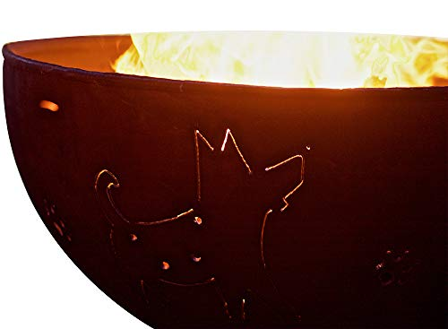 Buy Bargain Fire Pit Art Funky Dog Liquid Propane Fire Pit Bowl Outdoor Patio Furniture Steel Firepi...