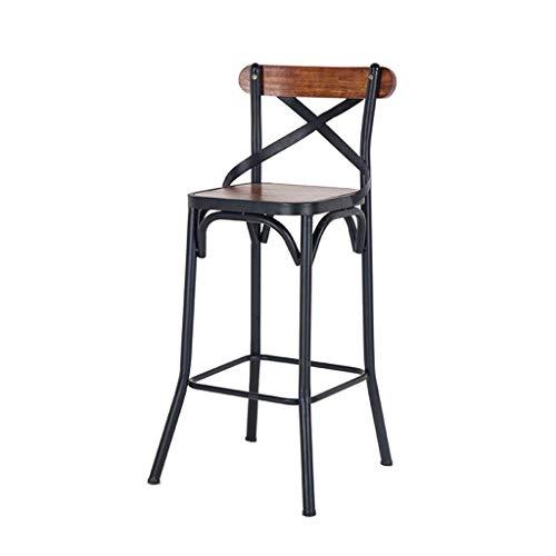 Denuo en Sgabello da Bar/Bar Sgabelli Industriale Stile Ferro Schienale Sgabello da Bar in Legno Sedia Creativa Sgabello Alto