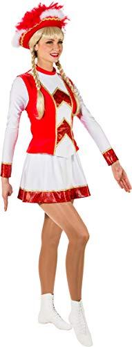 O9822-42 rot-weiß mit Goldborte Damen Funkenkostüm Mariechenkostüm Gr.42